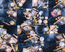 鸡蛋与面包食材摄影高清图片