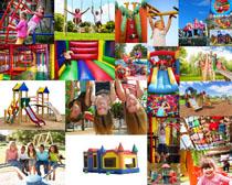 娱乐园玩耍的儿童摄影高清图片
