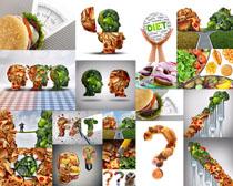 汉堡包蔬菜组合摄影高清图片