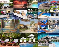 游泳池椅子摄影高清图片