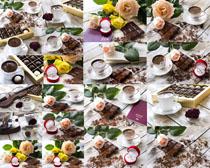 巧克力花朵咖啡摄影高清图片