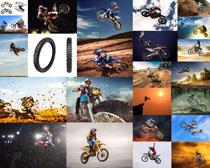 越野摩托赛手摄影高清图片