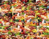 一堆面包蔬菜水果摄影高清图片