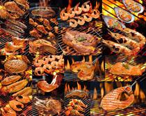 烤鱼烤虾摄影高清图片