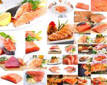 三文鱼肉片摄影高清图片