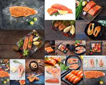三文鱼与调料摄影高清图片
