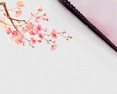 屋檐花朵水粉画PSD素材