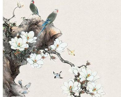 工笔画花朵与鸟时时彩投注平台