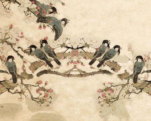 树枝绘画小鸟PSD素材