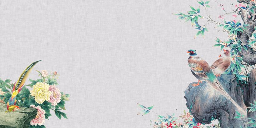 漂亮花朵与鸟类PSD素材