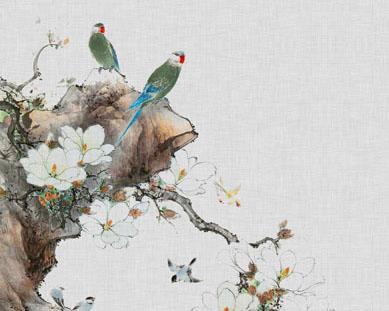 鲜花小鸟绘画PSD素材