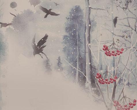 森林与鸟水墨画PSD素材