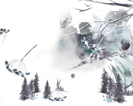 雪天风景画PSD素材