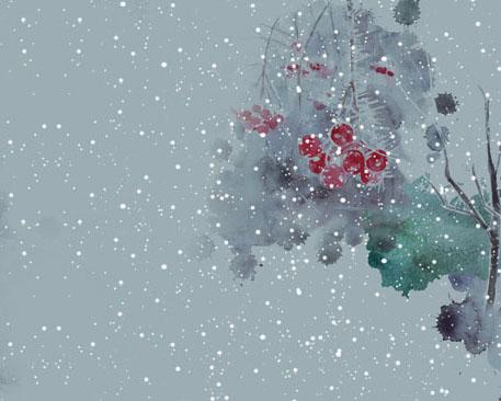 雪景风景画PSD素材
