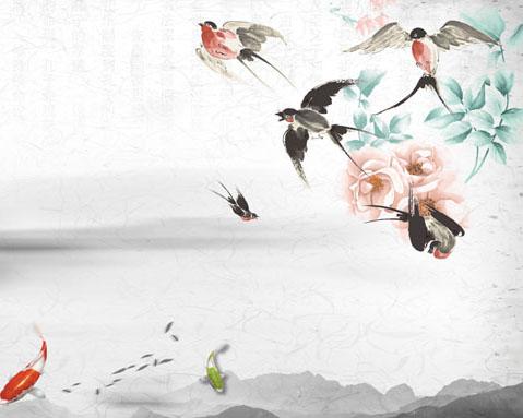 花朵小鸟春天绘画PSD素材
