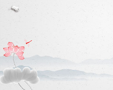山峰花朵绘画PSD素材