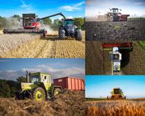 割稻田机器摄影高清图片