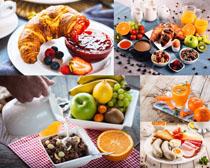 面包水果饮料早餐摄影高清图片
