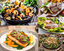 海鲜牛排食物摄影高清图片