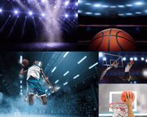 籃球扣籃運動員攝影高清圖片
