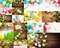 彩色蛋小草摄影高清图片