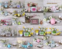 花朵裝飾蛋攝影高清圖片