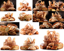 国外面包与篮子摄影高清图片