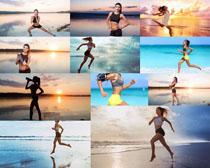 海边奔跑的女子摄影高清图片