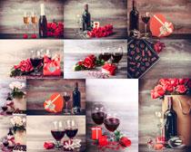 情人節紅酒玫瑰攝影高清圖片