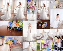 花与欧美婚纱女人摄影高清图片