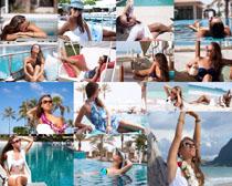 性感泳池美女摄影高清图片