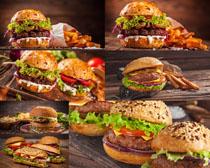 火腿蔬菜汉堡摄影高清图片