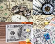 美元与时钟摄影高清图片