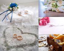 爱情戒指与花朵摄影高清图片