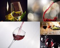 酒杯里的红葡萄酒摄影高清图片