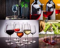 红葡萄酒与酒杯摄影高清图片