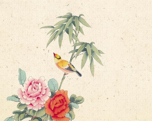 鸟语花香中国画PSD素材