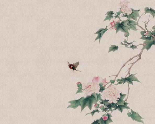 中国花朵小鸟PSD素材