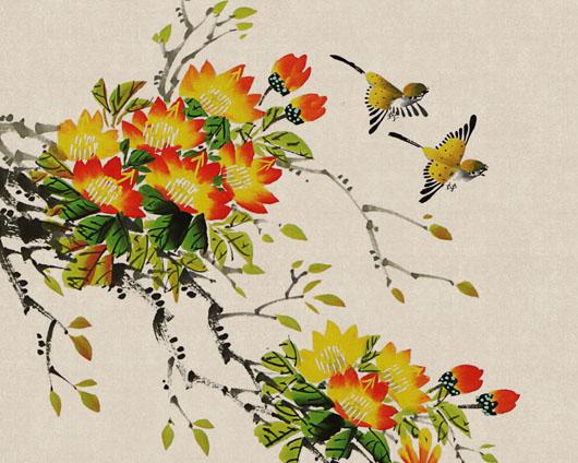 工笔绘画花朵PSD素材