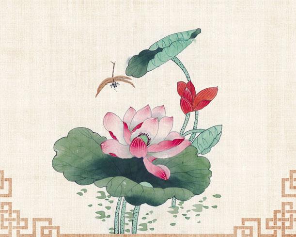 荷花绘画中国风PSD素材