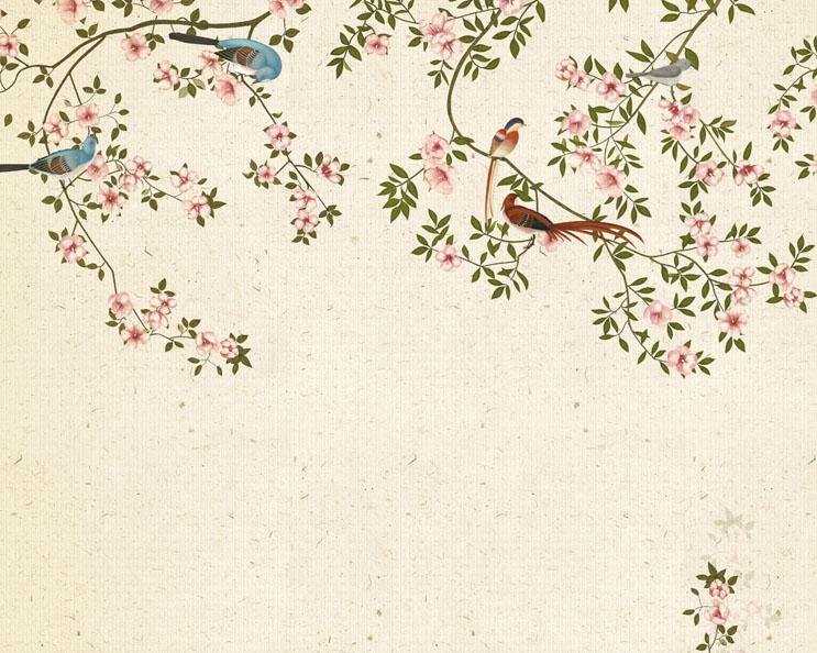 小鸟花朵叶子绘画PSD素材