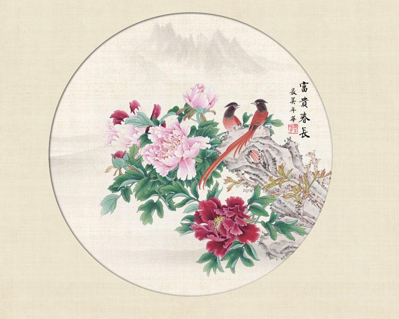 中国传统花朵绘画PSD素材