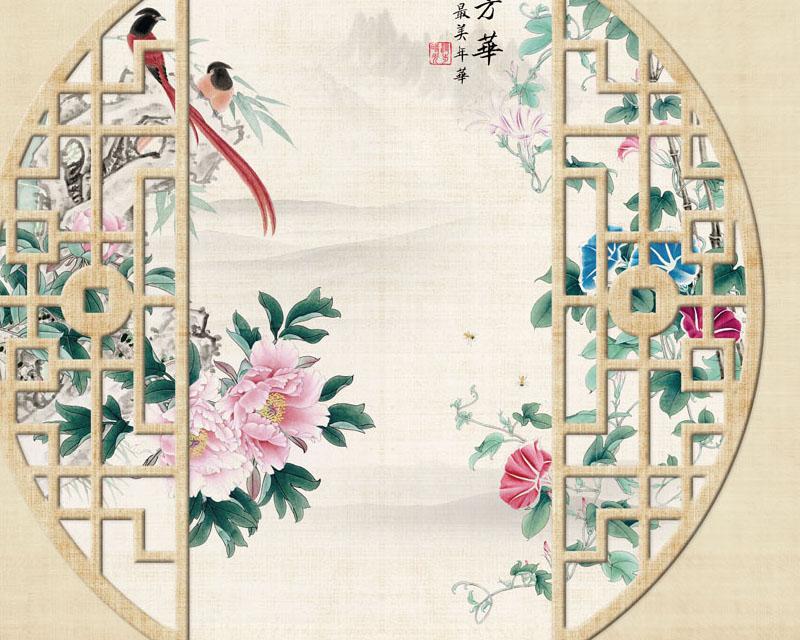 封面传统中国风绘画PSD素材