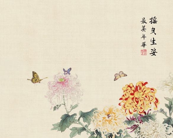 菊花蝴蝶绘画PSD素材