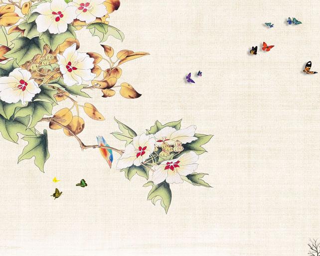 花朵蝴蝶美丽工笔画PSD素材