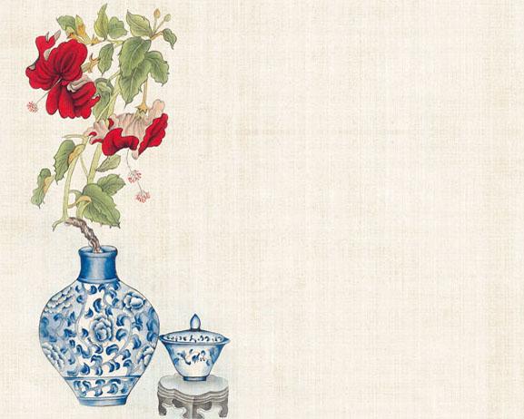 中国花瓶绘画PSD素材
