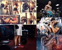 健身器材与男女摄影高清图片