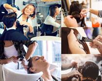 剪头发的人物摄影高清图片