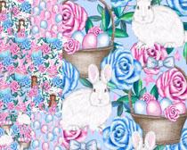 可爱兔子与花朵背景高清图片