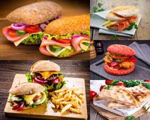 国外汉堡包展示拍摄高清图片